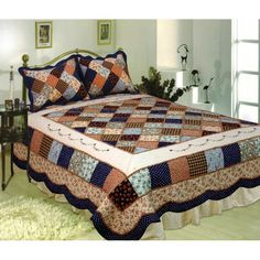 Decorate your master bedroom or special guest room with the Williamsburg Quilt Set from Elegant Decor. Known for their vibrant color combinations, wonderful designs and exceptional value, the quilt set includes the quilt and standard sham(s). Bed Sets, Quilt Sets, Quilt Blocks, Patchwork Quilt Patterns, Patchwork Fabric, Patchwork Designs, Quilt Border, Quilt Top, Bed Spreads