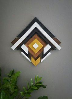 Geometric Wood Wall Art - One Of A Kind - Handmade - Yellow Black White - Modern - Abstract - Home Decor - Ready To Ship Wood Home Decor, Handmade Home Decor, Unique Home Decor, Reclaimed Wood Wall Art, Wooden Wall Art, Wall Wood, Diy Wood, Decoration, Art Decor