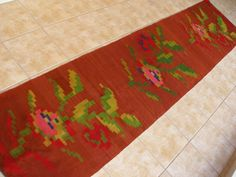 Vintage Kilim Rug Floral Runner Cinnamon, Cottage chic Decor, Rustic Decor, Mediterranean Decor, Shabby chic Decor by VintageHomeStories, www.etsy.com/shop/VintageHomeStories