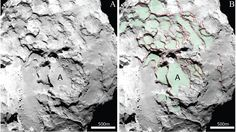 More than 100 terraced structures on the comet's surface and parallel layers clearly visible on exposed cliffs, walls and cavities. Sheet-like structures on both halves but different characteristics = did not develop on the same body. Earlier missions to comet Tempel 1 and Wild 2 had already revealed the layered, onion-like structure of these celestial bodies.