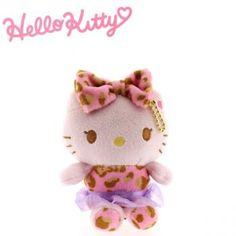Sanrio Hello Kitty Leopard Plush Doll Ball Chain (Pink)
