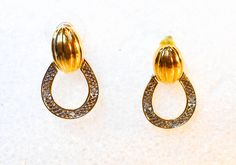 Silver & Gold Drop Earrings   Sterling Silver And Gold Vermeil  Pierced Ears   Designer Signed DBJ by GemstoneCowboy on Etsy