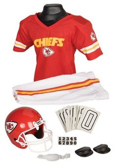 Everything your family will need to dress up as a Kansas City Chiefs football player for Halloween. Kansas City Chiefs Halloween costume ideas for kids and adults.