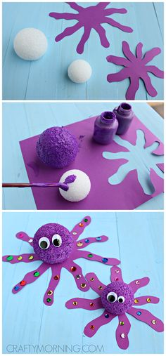 70 Creative sea animal crafts for kids (Ocean creatures) Styrofoam.- Creative sea animal crafts for kids (Ocean creatures) Styrofoam Ball Octopus Craft for Kids (fun for an ocean theme ! Sea Animal Crafts, Animal Crafts For Kids, Toddler Crafts, Diy For Kids, Kids Fun, Nemo Crafts For Kids, Water Crafts Kids, Funny Crafts For Kids, Arts And Crafts For Kids Toddlers