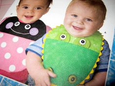 Baby Bib Alligator Face Green and Blue Gender by SewWriteCreations,