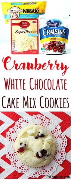 Cranberry White Chocolate Cake Mix Cookies Recipe from these festive little cookies are so easy to make and perfect for your Holiday Parties and Christmas Cookie Exchan. Cookies Fondant, Cookies Cupcake, Chocolate Cake Mix Cookies, White Chocolate Cake, Xmas Cookies, White Cake Mix Cookies, Chocolate Chips, Easy To Make Christmas Cookies, Chocolate Recipes