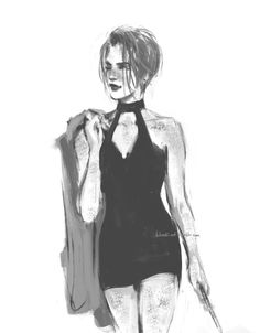 """blvnk-art: """"I literally just wanted to draw pro quidditch player Ginny Potter with a pixie cut, rocking a short hot black dress and, as usual, winking at her husband in some fancy Quidditch League party. No other reason. [Instagram..."""
