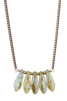 Brass chain necklace with Czech glass spears