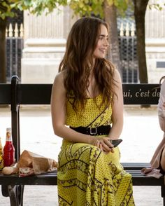 Emily In Paris Outfits — Where to Buy Emily In Paris Outfits Paris Outfits, Paris Dresses, Fashion Outfits, Film Fashion, Fashion Ideas, Yellow Maxi, Yellow Dress, Lily Collins, Checkered Outfit