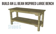 An easy to build bench inspired by an outdoor catalog retailer | Designs by Studio C Woodworking Blueprints, Used Woodworking Tools, Woodworking Bench, Woodworking Projects, Built In Seating, Built In Bench, Diy Furniture Plans, Furniture Making, Diy Bench Seat