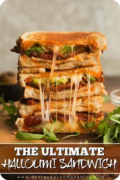 The ULTIMATE Halloumi Sandwich - This grilled cheese is packed with grilled halloumi, chorizo, sun dried tomato pesto, avocado and mozzarella - i. The ULTIMATE halloumi sandwich! Chorizo, Sandwiches, Vegetarian Recipes, Cooking Recipes, Healthy Recipes, Peanut Butter Noodles Recipe, Peanut Noodles, Grilled Halloumi, Buttered Noodles