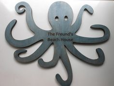"Large Octopus Wall Decoration for Beach House or Childrens Room 19.5"" x 16"" // Nautical Themed Decor on Etsy, $34.00"