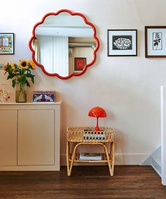 Hannah's Weiland's hallway with red scalloped mirror and rattan side table Dream Apartment, Apartment Interior, Interior Inspiration, Room Inspiration, Interior Decorating, Interior Design, Home Trends, N21, My New Room