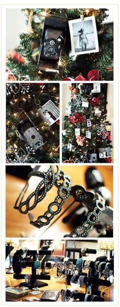 Love the Christmas Tree decorated with antique camera and old family pictures.