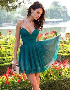 A-line V-neck Short Dark Green Chiffon Homecoming Dresses,Braces prom dress,Sexy dress,