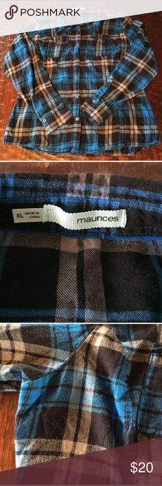 XL Maurices Medium Weight Flannel Shirt XL Maurices Medium Weight Flannel Shirt. This shirt is not super heavy. It's great for layering, and perfect for autumn and winter. This shirt is in good condition, though it does have some pilling, which is visible in pics. Any questions, just ask. Comes from a Smoke Free/Feline Friendly home. Offers always welcome. Maurices Tops Button Down Shirts