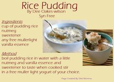 slimming world rice pudding - make it with diet lemonade instead of water and sweetener - or even more delish - flavoured sugar free water! Slimming World Rice Pudding, Slimming World Puddings, Slimming World Deserts, Slimming World Recipes Syn Free, Slimmers World Recipes, Slimmimg World, Low Fat Cooking, Slimming Eats, Fat Foods