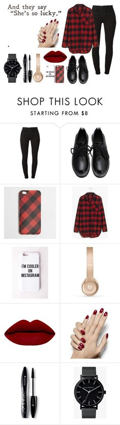 """""""And they say 'She's so lucky.'"""" by gbrunson on Polyvore featuring 7 For All Mankind, J.Crew, Madewell, Missguided, Beats by Dr. Dre, Lancôme, The Horse, women's clothing, women and female"""