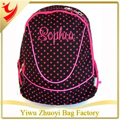 Black Hot Pink Girls Personalized Monogrammed Polka Dots Bookbag #Bookbags, #Monogrammed