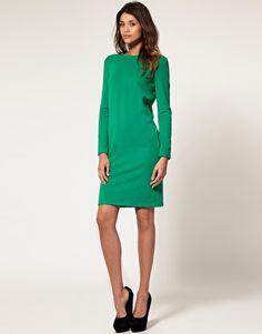 Button back green dress- very kate middleton