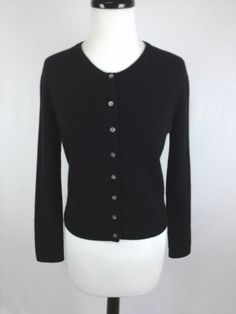 Valerie Stevens Sweater Cashmere Knit Black Button Up Luxury Cardigan Womens PS | eBay