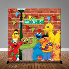 Sesame Street Themed Birthday Banner Backdrop/ Step & Repeat Design, Print and Ship! Sofia The First Birthday Party, Baby Boy 1st Birthday, Boy Birthday Parties, Birthday Ideas, Seasame Street Party, Sesame Street Birthday Cakes, Elmo Birthday Invitations, Elmo Party, Banner Backdrop