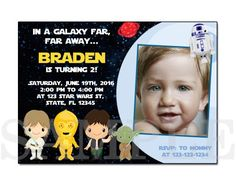 STAR WARS BIRTHDAY PARTY INVITATION CARDS the Star Wars The force awakens
