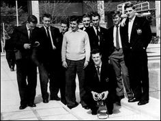 Manchester United players relaxing : Colin Webster, Eddie Colman, Wilf McGuinness,Jackie Blanchflower, Mark Jones, Ray Wood, Bobby Charlton,Duncan Edwards. In front: Liam Whelan