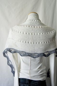 Cotton Lace Knitted Shawl / White / Blue Gray / by HanksAndNeedles