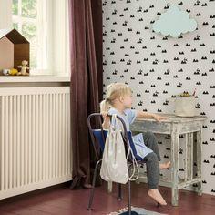 Ferm Living Behang Rabbit gebroken wit zwart 10x0,53m - wonenmetlef.nl