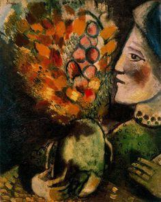 """Chagall, Pintor De Sonhos... """"Mulher Com Ramo De Flores"""",1910,Óleo Sobre Tela, Coleção Helen Serger, Nova Iorque:"""