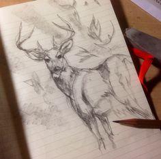 Taking a sketch break with my deer.
