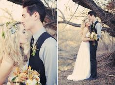 falling in love with {fall weddings} | Engaged & Inspired. this is what i want, fall, trees, flowers in my hair, just love it.