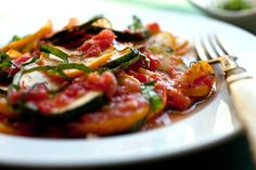 Pan-Cooked Summer Squash With Tomatoes and Basil Recipe - NYT Cooking