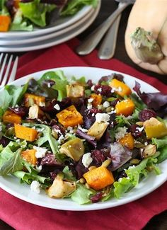 Maple Roasted Butternut Squash and Apple Salad Recipe on twopeasandtheirpod.com My favorite fall salad!
