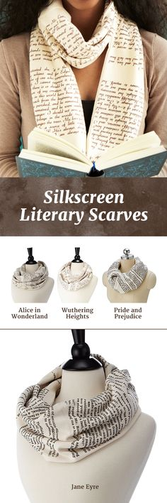 Is it easy for you to get all wrapped up in a good book? Then these infinity scarves by Tori Tissell are the perfect way for you to show off some literary love in any weather.