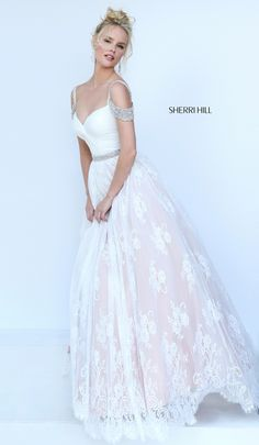 Sheinwhite Newest Sherri Hill 50595 Style A-line Lace Tulle Prom Dress - Newest Sherri Hill 50595 Style A-line Lace Tulle Prom Dress Lace Evening Dresses, Elegant Dresses, Pretty Dresses, Evening Gowns, Formal Dresses, Grad Dresses, Dance Dresses, Homecoming Dresses, Dress Prom