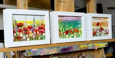 ARTFINDER: 'Spring Meadow' by Ewa Czarniecka - This 63x16cm painting is a triptych, three framed canvasses which are each 18x13cm. Ready to hang. Could be purchased separately.