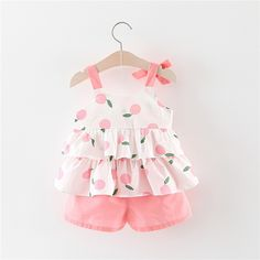 Bowknot Ruffled Fruit Print Top and Shorts Set Cute Baby Girl Pictures, Cute Baby Boy, Cute Baby Clothes, My Baby Girl, Toddler Girl Outfits, Baby Outfits Newborn, Little Girl Dresses, Kids Outfits, Baby Girl Birthday Dress