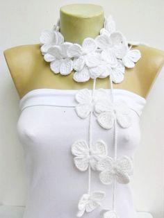 ganchillo lariat bufanda de la flor bufanda lazo por SenasShop
