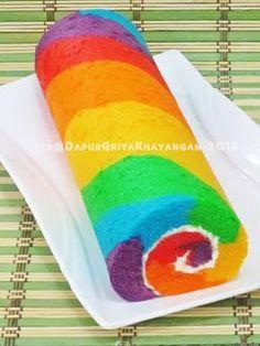 Dapur Griya Khayangan: Bolu Gulung Kukus Rainbow