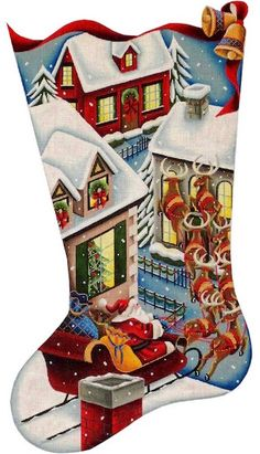 Santa's Gingerbread House Hand Painted Needlepoint Stocking Canvas ...