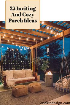 Being outdoors and lounging with friends, curling up with a good read or just watching the sunset, these are precious moments that can be enjoyed in these cozy porch ideas. Backyard Patio Designs, Backyard Projects, Backyard Landscaping, Cool Backyard Ideas, Pergola Patio, Gazebo, Outside Living, Outdoor Living, Outdoor Decor