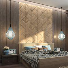 WoodWalls Tulip : wood panels for bedrooms on Behance Bedroom False Ceiling Design, Luxury Bedroom Design, Hotel Room Design, Bedroom Bed Design, Bedroom Furniture Design, Home Decor Bedroom, Interior Design, Wooden Bedroom, Modelos 3d