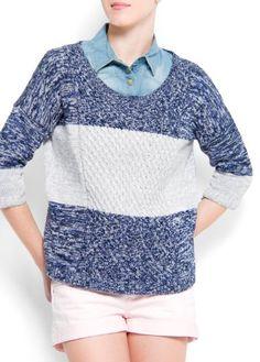 Amazon.com: Mango Women's Knit Jumper Color Block: Mango: Clothing