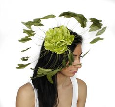 Lime and Olive Green Fascinator Hat for Kentucky Derby, Weddings and Christmas Parties. $120.00, via Etsy.