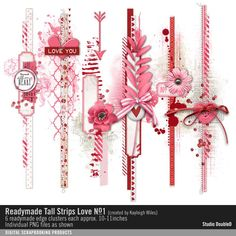 Readymade Tall Strips: Love No. 01 Border Strip edges in pinks and reds with hearts and flowers #readymade #designerdigitals