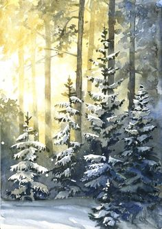 All of my paintings are painted by me with professional watercolours on high qua., All of my paintings are painted by me with professional watercolours on high qua…, Painting Snow, Forest Painting, Winter Painting, Winter Art, Painting Trees, Winter Trees, Watercolor Trees, Watercolor Landscape, Landscape Paintings