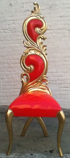 Hollywood Regency Gold Leaf & Shiny Red Vinyl by VENETIANSOCIETY, $995.00, design,furniture,home,custom,vintage.