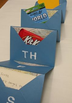 Care package idea (envelopes for each day filled with stamps, blank paper, calling card, candy, map, etc)